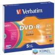 Verbatim DVD-R 4.7GB 16x DVD lemez slim tok színes 5db/cs  (43557)